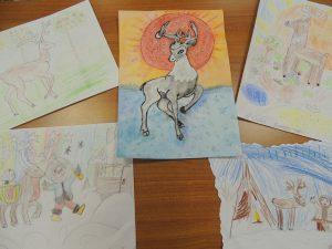 Выставка рисунков и их авторы- учащиеся 1 А класса МБОУ СОШ №7